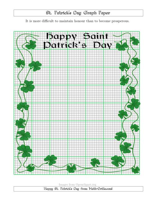 The St. Patrick's Day Graph Paper 2.5/0.25 cm with a Fancy Border Math Worksheet
