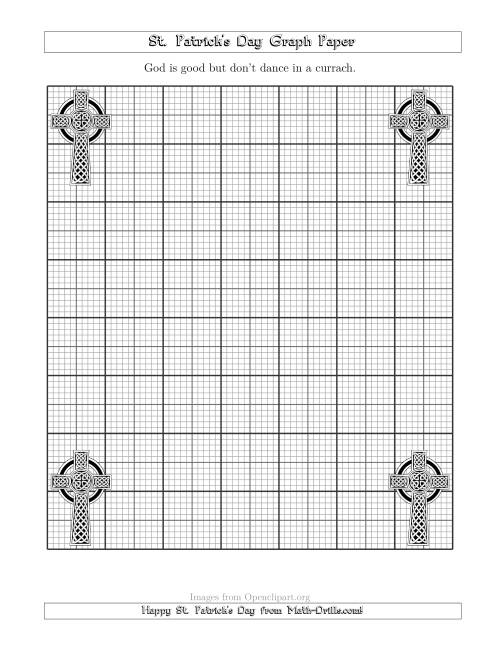 The St. Patrick's Day Graph Paper Metric 3 Line with a Celtic Cross Theme Math Worksheet