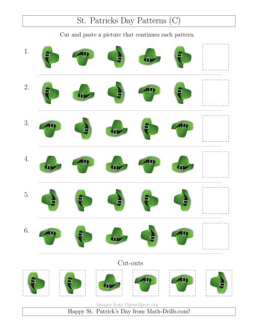 The St. Patrick's Day Picture Patterns with Rotation Attribute Only (C) Math Worksheet