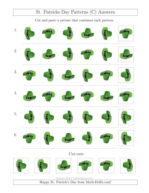 The St. Patrick's Day Picture Patterns with Rotation Attribute Only (C) Math Worksheet Page 2