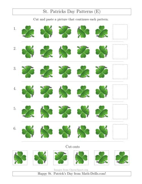 The St. Patrick's Day Picture Patterns with Rotation Attribute Only (E) Math Worksheet