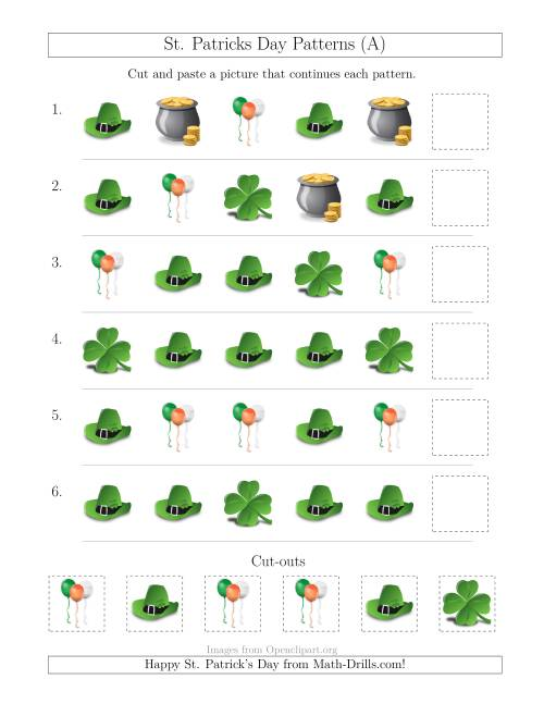 The St. Patrick's Day Picture Patterns with Shape Attribute Only (A) Math Worksheet