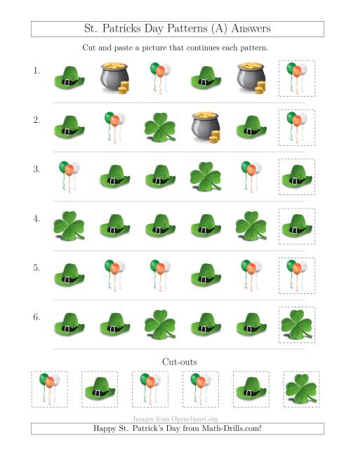 The St. Patrick's Day Picture Patterns with Shape Attribute Only (A) Math Worksheet Page 2