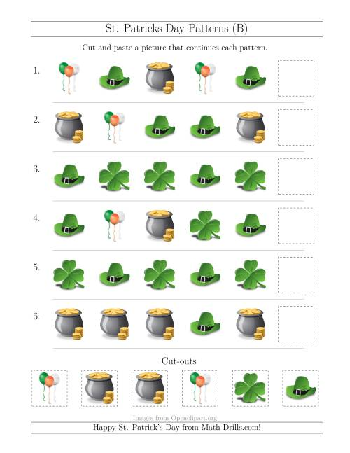 The St. Patrick's Day Picture Patterns with Shape Attribute Only (B) Math Worksheet
