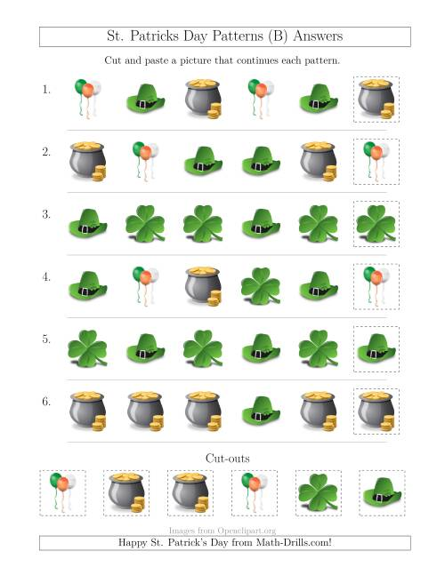 The St. Patrick's Day Picture Patterns with Shape Attribute Only (B) Math Worksheet Page 2