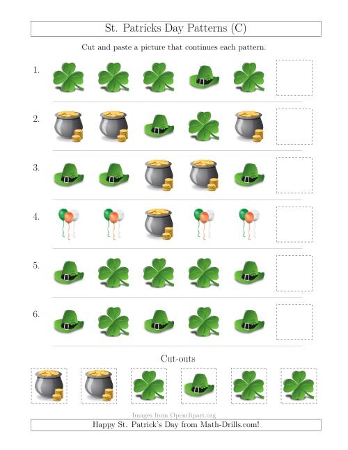 The St. Patrick's Day Picture Patterns with Shape Attribute Only (C) Math Worksheet