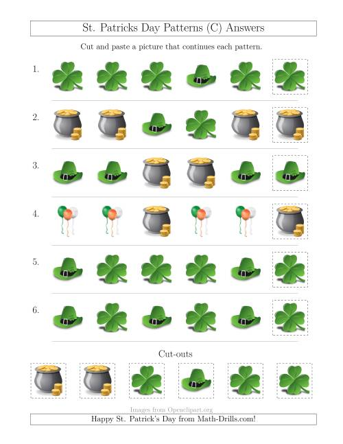 The St. Patrick's Day Picture Patterns with Shape Attribute Only (C) Math Worksheet Page 2