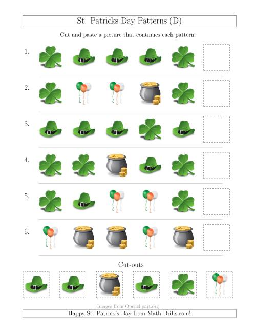 The St. Patrick's Day Picture Patterns with Shape Attribute Only (D) St. Patrick's Day Math Worksheet
