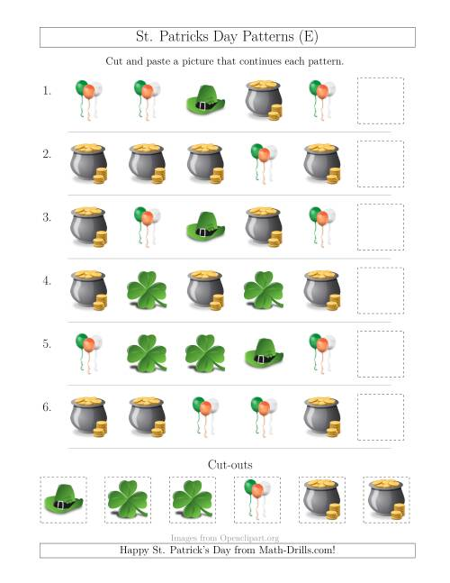 The St. Patrick's Day Picture Patterns with Shape Attribute Only (E) Math Worksheet