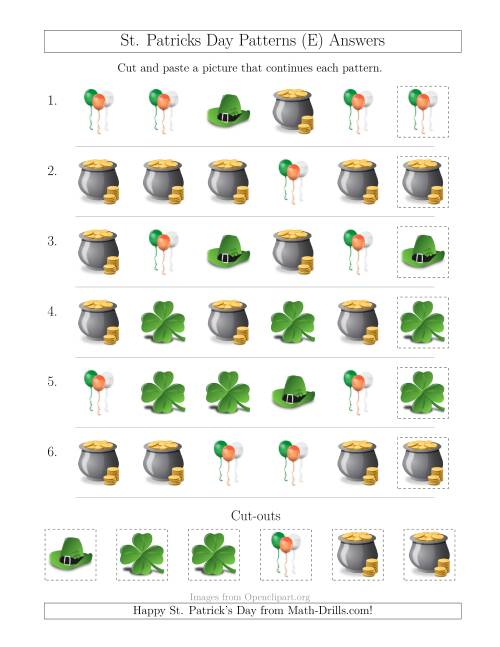 The St. Patrick's Day Picture Patterns with Shape Attribute Only (E) Math Worksheet Page 2