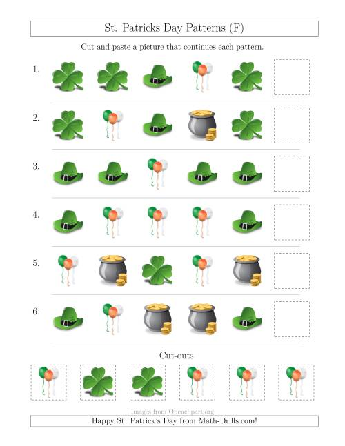 The St. Patrick's Day Picture Patterns with Shape Attribute Only (F) Math Worksheet