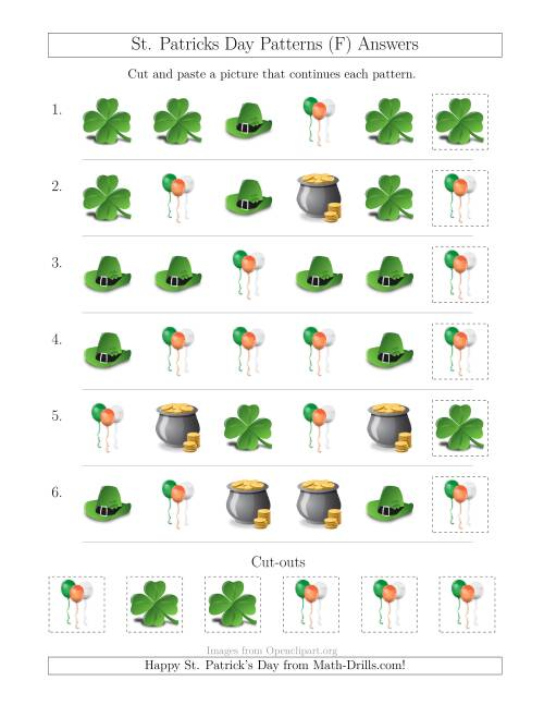 The St. Patrick's Day Picture Patterns with Shape Attribute Only (F) Math Worksheet Page 2