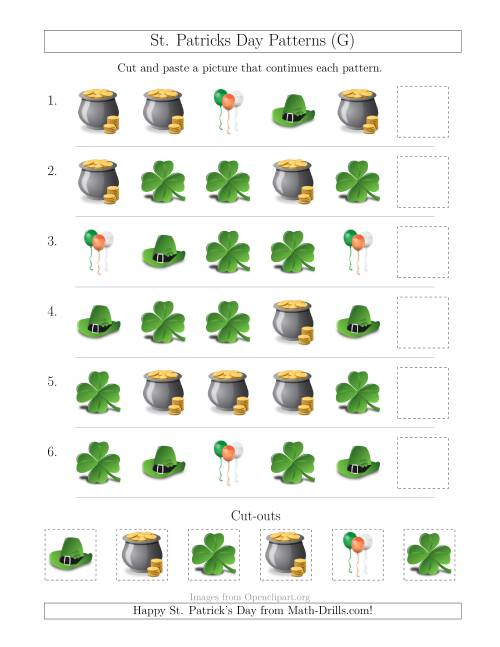 The St. Patrick's Day Picture Patterns with Shape Attribute Only (G) Math Worksheet