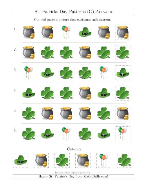 The St. Patrick's Day Picture Patterns with Shape Attribute Only (G) Math Worksheet Page 2