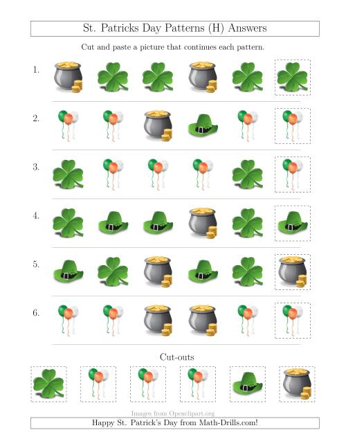 The St. Patrick's Day Picture Patterns with Shape Attribute Only (H) Math Worksheet Page 2