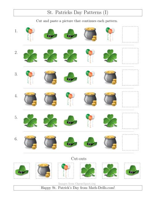 The St. Patrick's Day Picture Patterns with Shape Attribute Only (I) St. Patrick's Day Math Worksheet