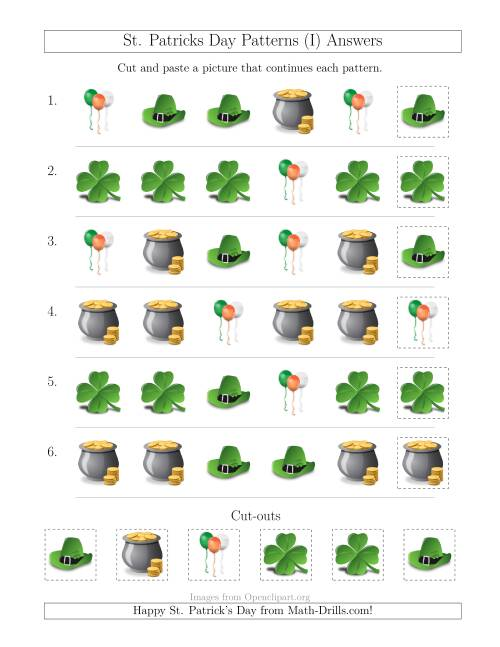 The St. Patrick's Day Picture Patterns with Shape Attribute Only (I) Math Worksheet Page 2