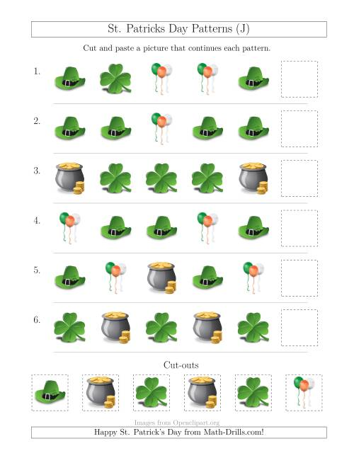 The St. Patrick's Day Picture Patterns with Shape Attribute Only (J) Math Worksheet