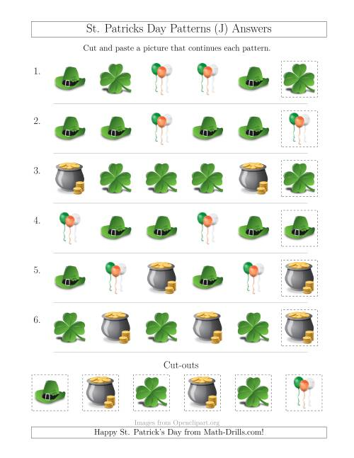 The St. Patrick's Day Picture Patterns with Shape Attribute Only (J) Math Worksheet Page 2