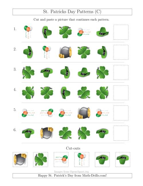 The St. Patrick's Day Picture Patterns with Shape and Rotation Attributes (C) Math Worksheet