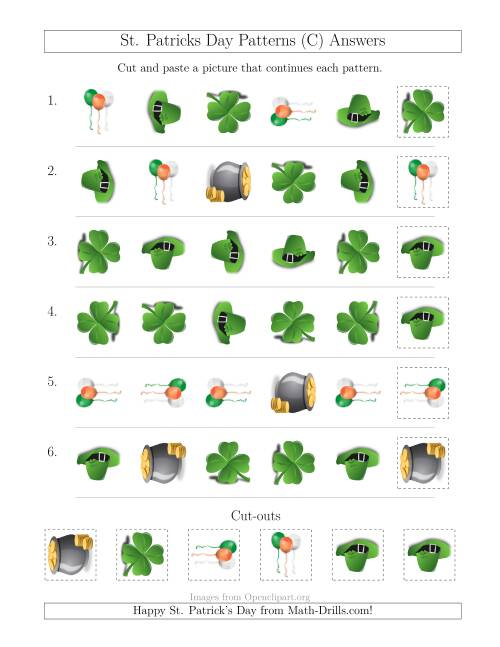 The St. Patrick's Day Picture Patterns with Shape and Rotation Attributes (C) Math Worksheet Page 2