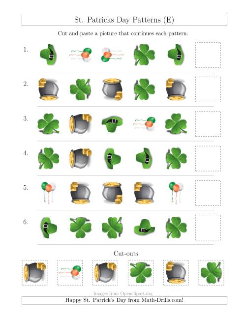 The St. Patrick's Day Picture Patterns with Shape and Rotation Attributes (E) Math Worksheet