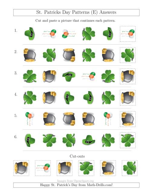 The St. Patrick's Day Picture Patterns with Shape and Rotation Attributes (E) Math Worksheet Page 2