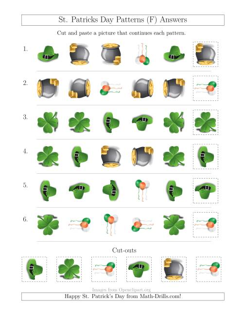 The St. Patrick's Day Picture Patterns with Shape and Rotation Attributes (F) Math Worksheet Page 2