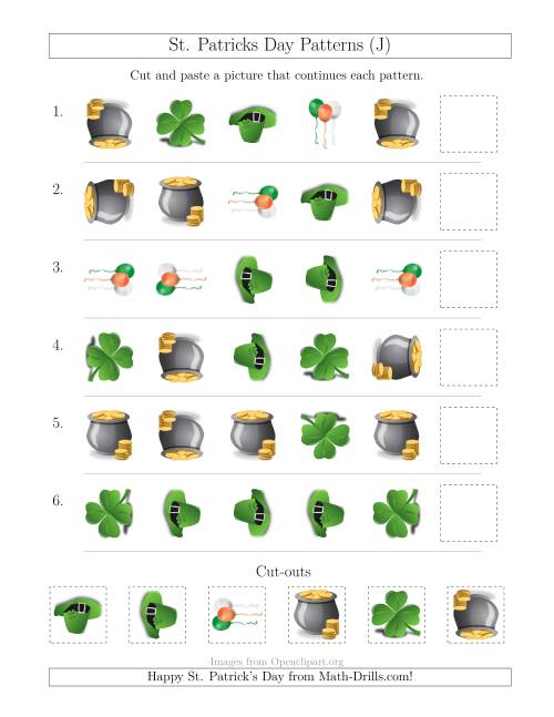The St. Patrick's Day Picture Patterns with Shape and Rotation Attributes (J) Math Worksheet