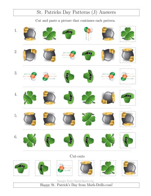 The St. Patrick's Day Picture Patterns with Shape and Rotation Attributes (J) Math Worksheet Page 2