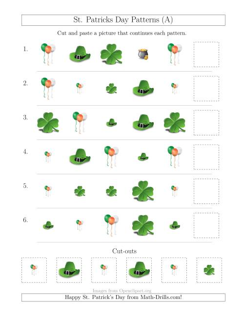 The St. Patrick's Day Picture Patterns with Size and Shape Attributes (A) Math Worksheet