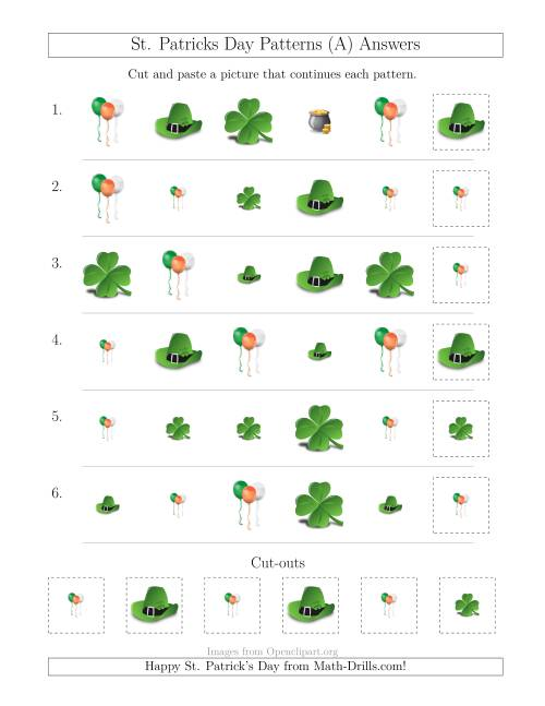 The St. Patrick's Day Picture Patterns with Size and Shape Attributes (A) Math Worksheet Page 2