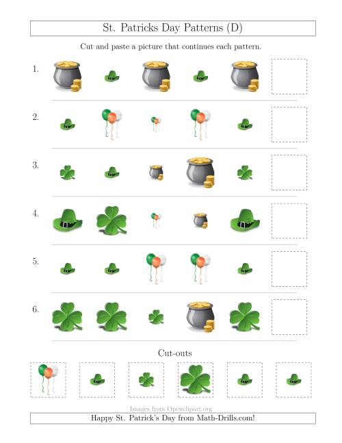 The St. Patrick's Day Picture Patterns with Size and Shape Attributes (D) Math Worksheet