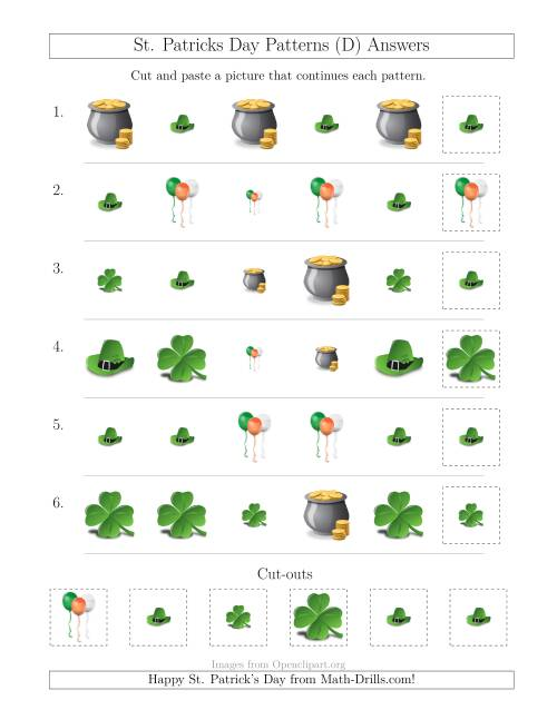 The St. Patrick's Day Picture Patterns with Size and Shape Attributes (D) Math Worksheet Page 2