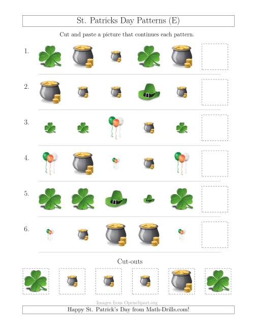 The St. Patrick's Day Picture Patterns with Size and Shape Attributes (E) Math Worksheet