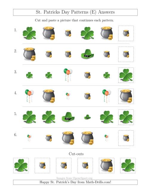 The St. Patrick's Day Picture Patterns with Size and Shape Attributes (E) Math Worksheet Page 2