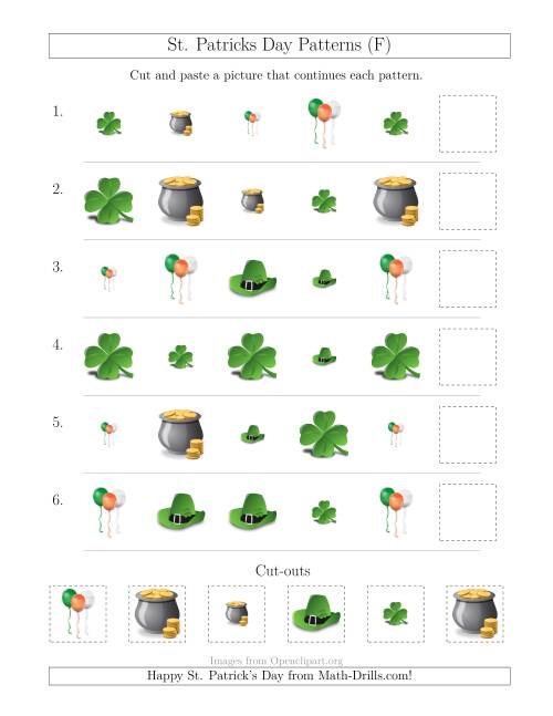 The St. Patrick's Day Picture Patterns with Size and Shape Attributes (F) Math Worksheet