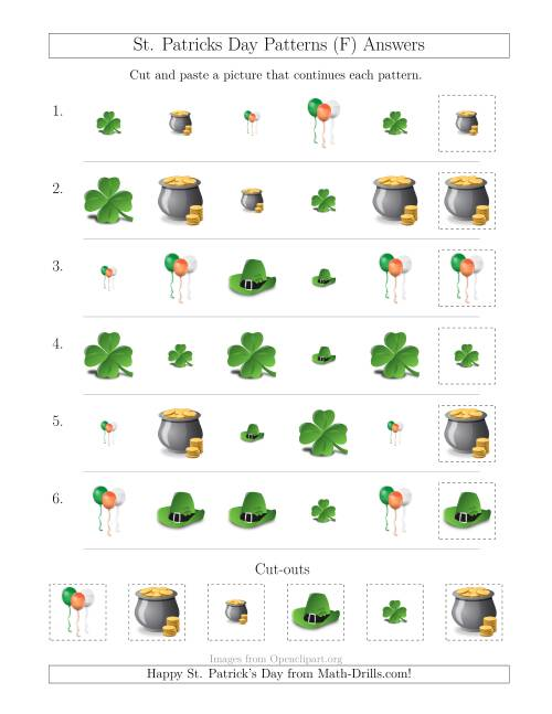 The St. Patrick's Day Picture Patterns with Size and Shape Attributes (F) Math Worksheet Page 2