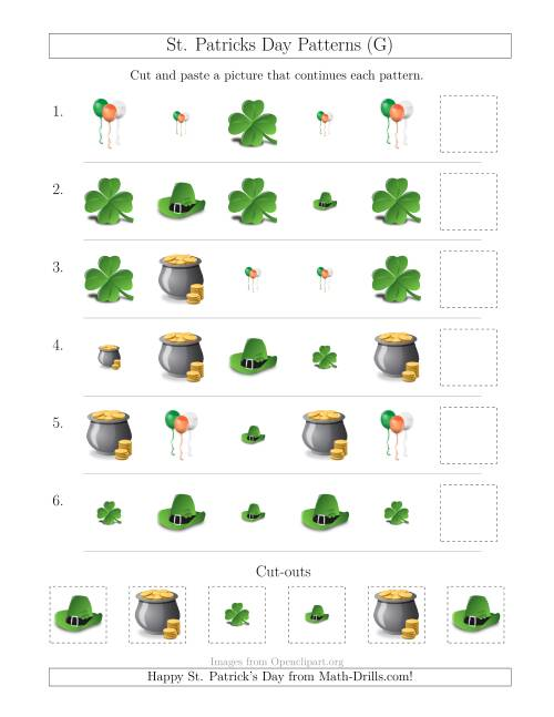 The St. Patrick's Day Picture Patterns with Size and Shape Attributes (G) Math Worksheet
