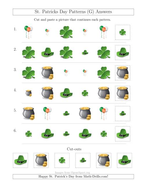 The St. Patrick's Day Picture Patterns with Size and Shape Attributes (G) Math Worksheet Page 2