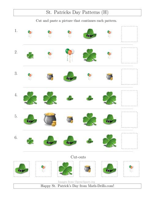 The St. Patrick's Day Picture Patterns with Size and Shape Attributes (H) Math Worksheet