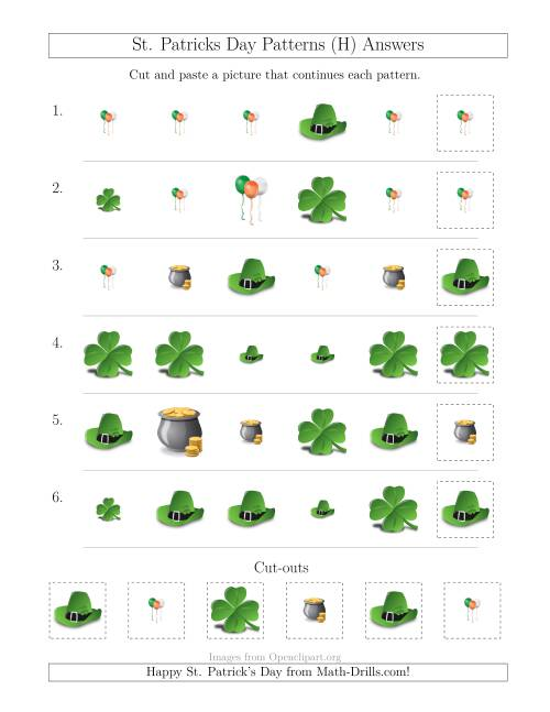 The St. Patrick's Day Picture Patterns with Size and Shape Attributes (H) Math Worksheet Page 2