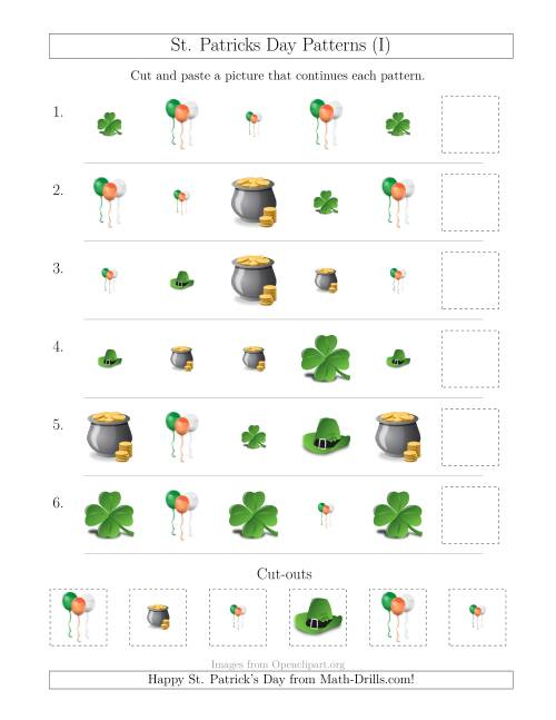 The St. Patrick's Day Picture Patterns with Size and Shape Attributes (I) Math Worksheet