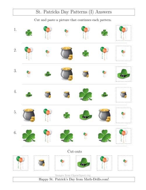The St. Patrick's Day Picture Patterns with Size and Shape Attributes (I) Math Worksheet Page 2