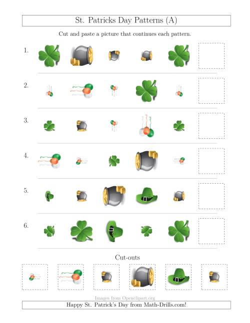 The St. Patrick's Day Picture Patterns with Shape, Size and Rotation Attributes (A) Math Worksheet