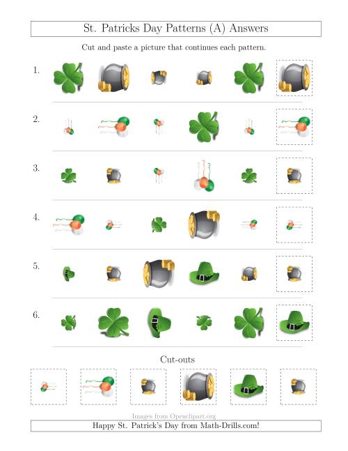 The St. Patrick's Day Picture Patterns with Shape, Size and Rotation Attributes (A) Math Worksheet Page 2