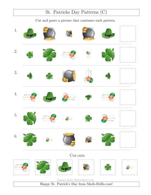 The St. Patrick's Day Picture Patterns with Shape, Size and Rotation Attributes (C) Math Worksheet