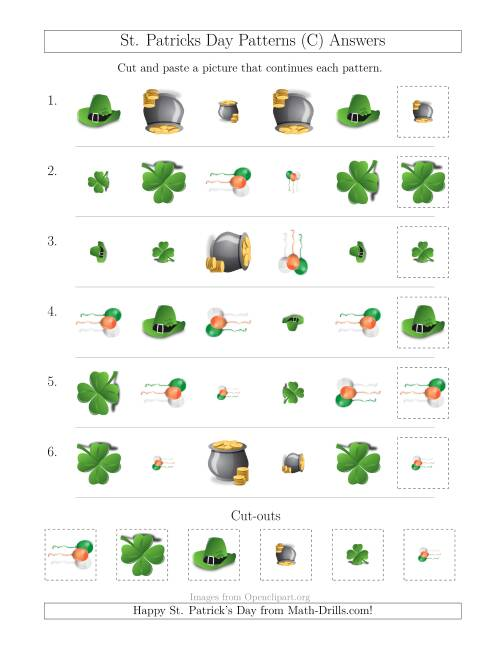 The St. Patrick's Day Picture Patterns with Shape, Size and Rotation Attributes (C) Math Worksheet Page 2