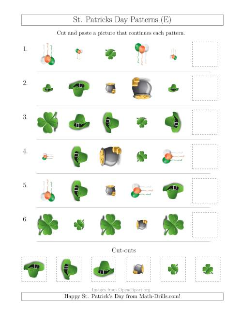The St. Patrick's Day Picture Patterns with Shape, Size and Rotation Attributes (E) Math Worksheet