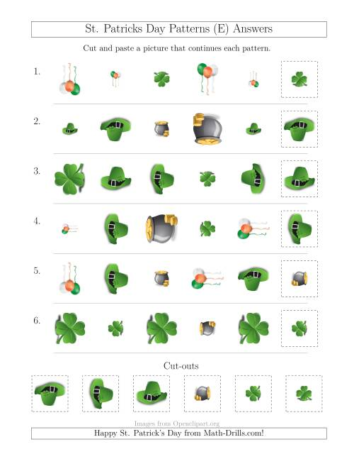 The St. Patrick's Day Picture Patterns with Shape, Size and Rotation Attributes (E) Math Worksheet Page 2